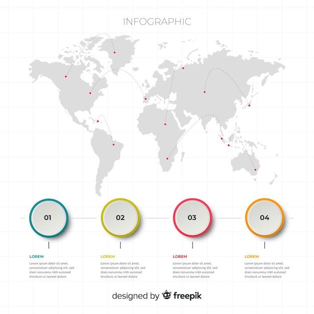 Indicatore globale della mappa del mondo per le destinazioni Vettore gratuito