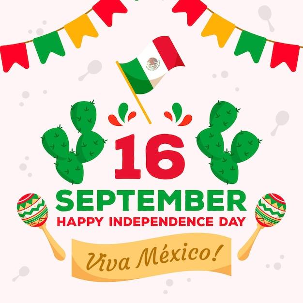 Indipendenza del messico con bandiera e cactus Vettore gratuito