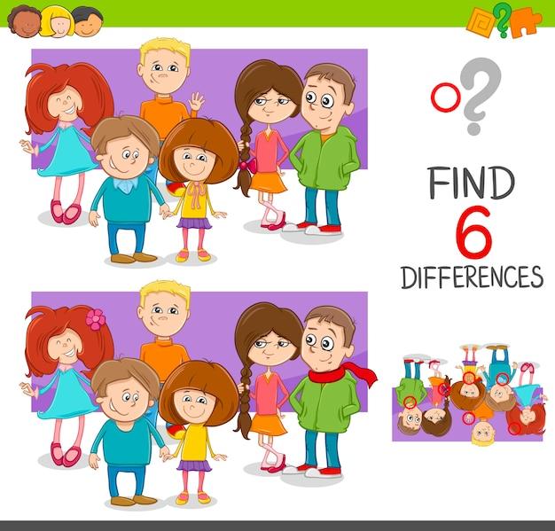 Individuare il gioco delle differenze con i bambini Vettore Premium