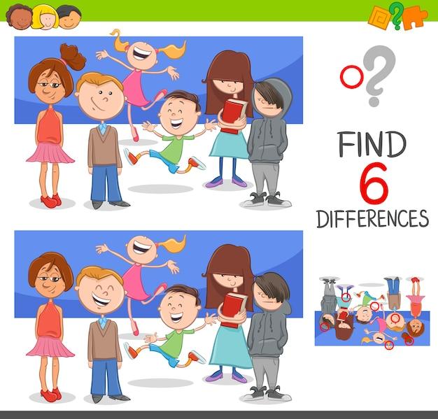Individuare le differenze con i bambini Vettore Premium