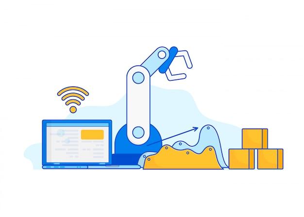Industria 4.0 internet delle cose Vettore Premium