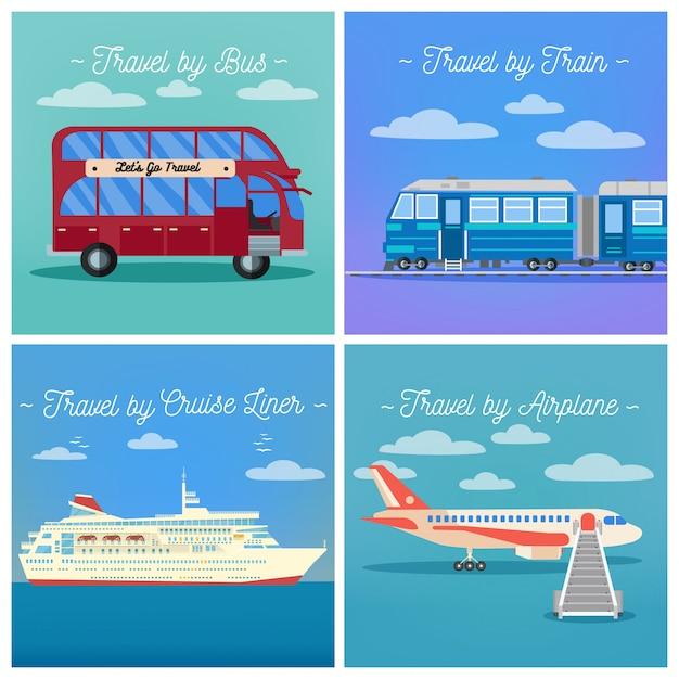 Industria del turismo. viaggio in treno. viaggio in autobus. cruise liner travel. viaggio in aereo. Vettore Premium