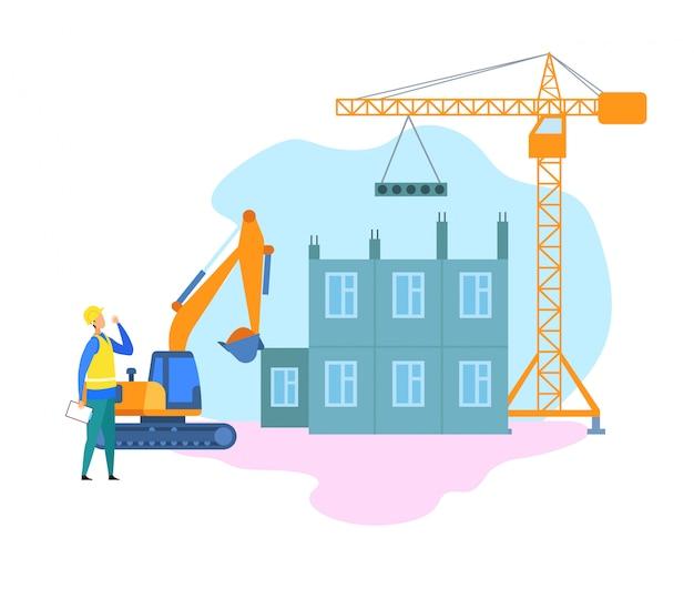 Industria edile, illustrazione del cantiere Vettore Premium
