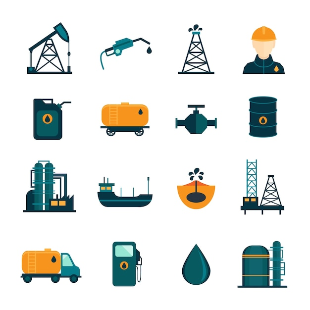 Industria petrolifera di perforazione processo di raffinazione trasporto di petrolio icone set con olio di petrolio e pompa piatta illustrazione vettoriale isolato Vettore gratuito