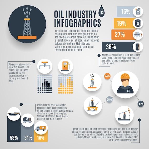 Industria petrolifera infografica Vettore gratuito