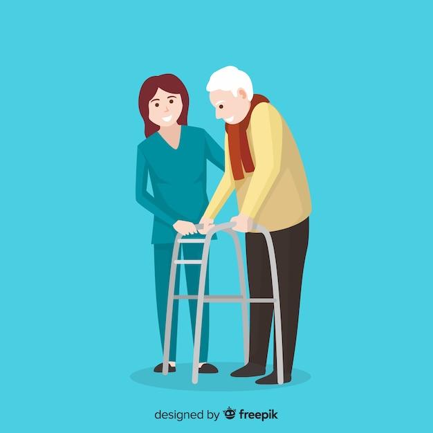 Infermiera che aiuta priorità bassa paziente Vettore gratuito