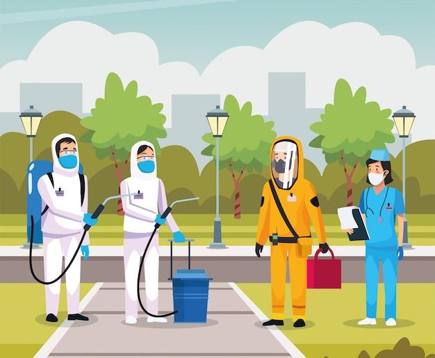 Infermiera con persona delle pulizie di biosicurezza Vettore Premium