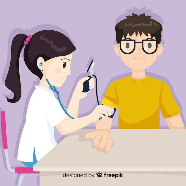 Infermiera disegnata a mano che aiuta priorità bassa paziente Vettore gratuito