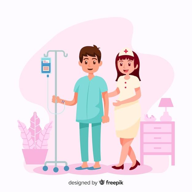 Infermiera piana che aiuta paziente Vettore gratuito
