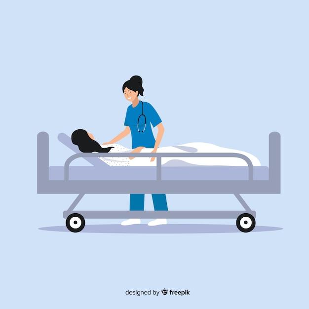 Infermiera piana che aiuta priorità bassa paziente Vettore gratuito