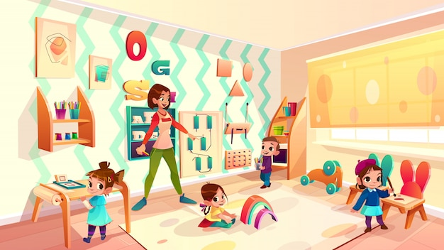 Infermiera prescolare femminile della scuola materna, insegnante di asilo che gioca con i bambini in moderno Vettore gratuito