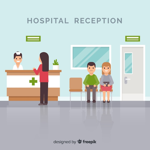 Infermiere che assiste all'illustrazione paziente di ricezione dell'ospedale Vettore gratuito