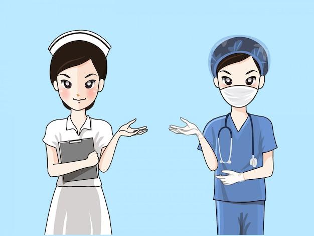 Infermiere in uniforme formale e abiti chirurgici. Vettore Premium