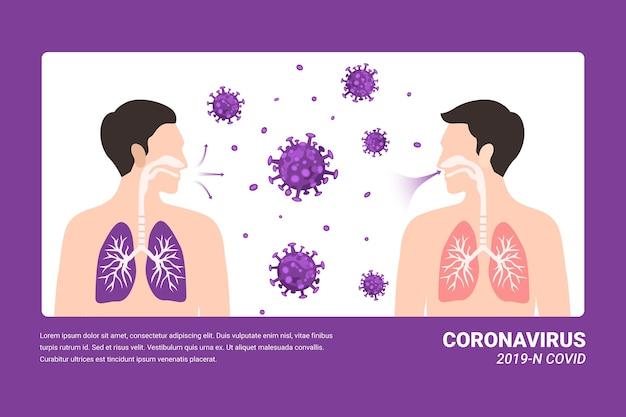 Infezione polmonare concetto coronavirus Vettore gratuito