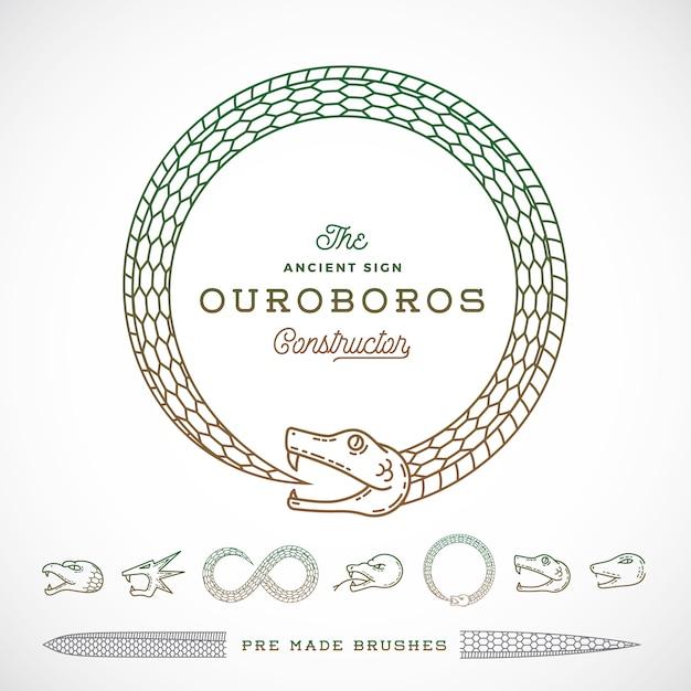 Infinite ouroboros snake symbol, sign o un logo costruttore in stile linea. Vettore Premium