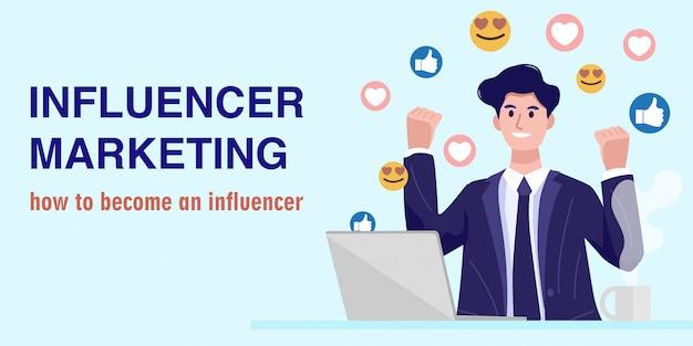 Influencer marketing concept, un giovane imprenditore che guarda un live streaming. vettore Vettore Premium