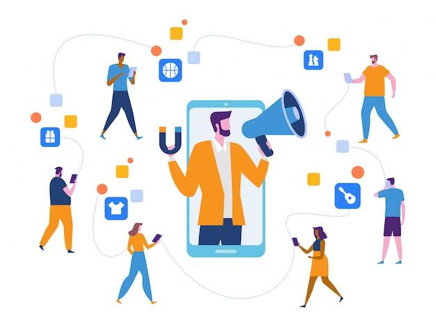 Influencer marketing, potenziali acquirenti di prodotti Vettore Premium