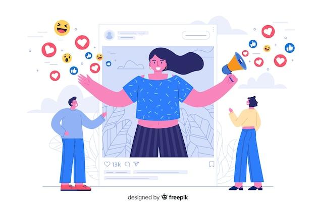 Influencer sulla pagina di destinazione dei social media Vettore gratuito