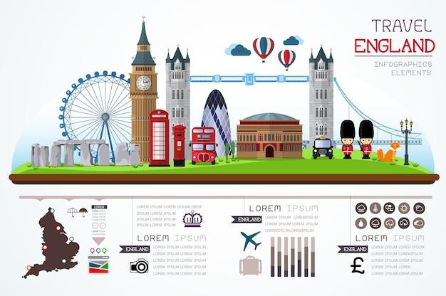 Info grafica di viaggio e design modello landmark inghilterra. Vettore Premium