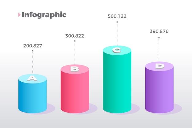 Infografica 3d barre colorate Vettore gratuito