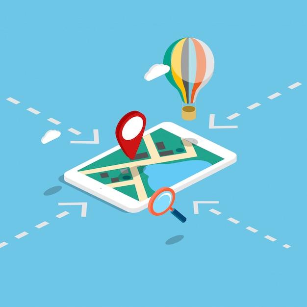 Infografica 3d isometrica mobile di navigazione mobile mappe. Vettore Premium