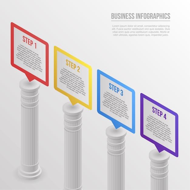 Infografica a colonna. isometrico di vettore di pilastro infographic per il web design Vettore Premium