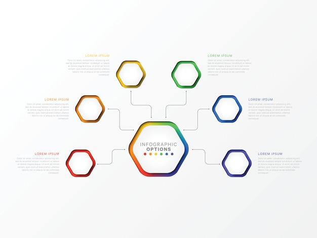 Infografica a sei passaggi con elementi esagonali. Vettore Premium