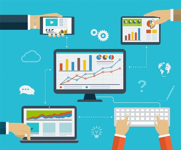 Infografica aziendali utilizzando moderni dispositivi digitali per la navigazione in internet, la creazione di report, grafici e diagrammi statistici Vettore Premium
