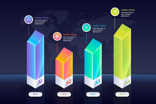 Infografica barre colorate Vettore gratuito