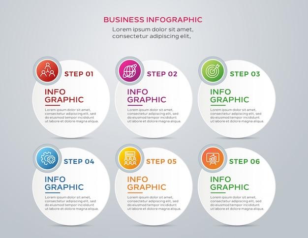 Infografica business moderno con 6 passaggi Vettore Premium