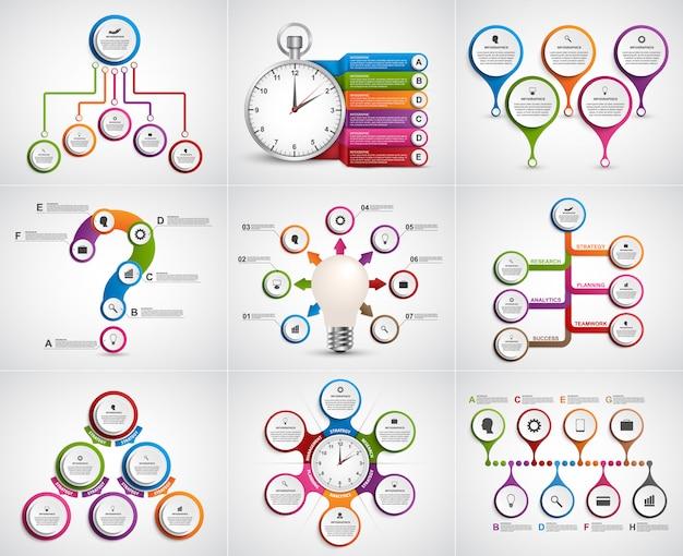 Infografica collezione. elementi di design Vettore Premium
