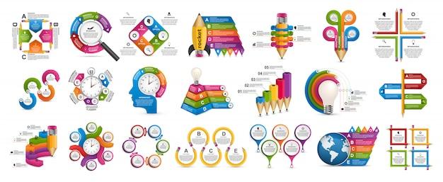 Infografica collezione. Vettore Premium