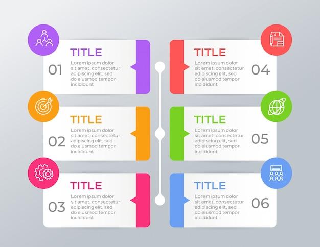 Infografica colorata con 6 opzioni Vettore Premium