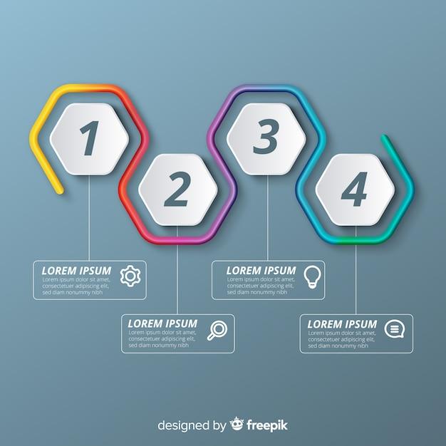 Infografica colorata passi in gradiente Vettore gratuito
