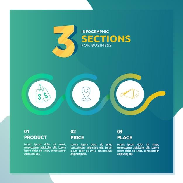Infografica con 3 sezioni per modello di business Vettore Premium