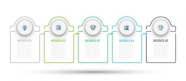 Infografica con 5 passaggi, opzioni e icone di marketing. Vettore Premium