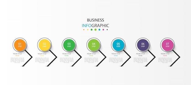 Infografica con 7 passaggi o opzioni Vettore Premium