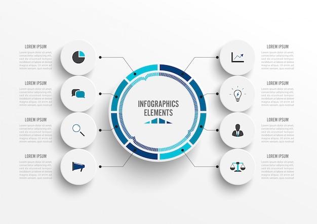 Infografica con etichetta di carta 3d Vettore Premium