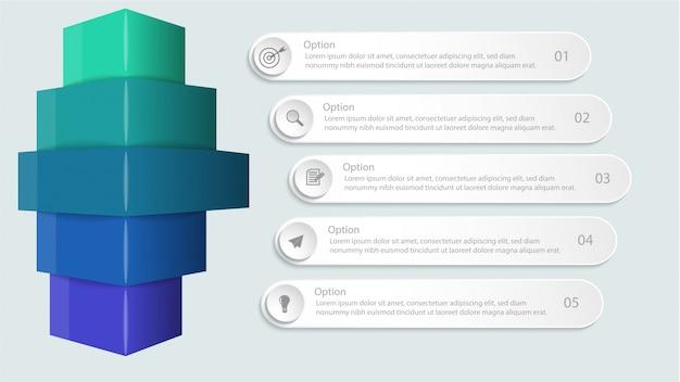 Infografica con opzioni o passaggio per layout del flusso di lavoro, diagramma, opzioni numeriche, opzioni di incremento, web design e presentazioni Vettore Premium