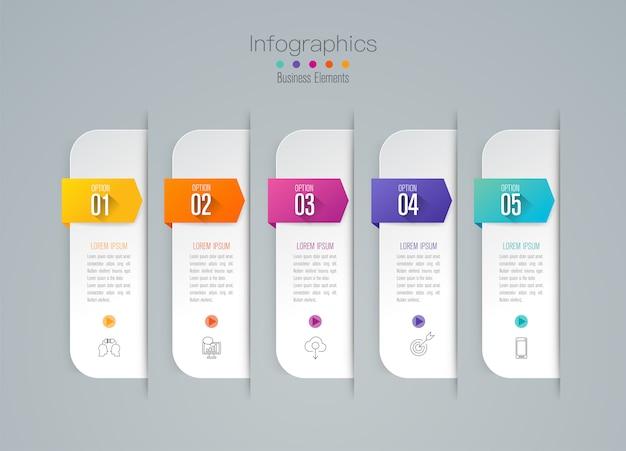 Infografica con passaggi e opzioni Vettore Premium