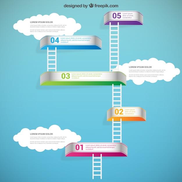 Infografica con scale Vettore gratuito