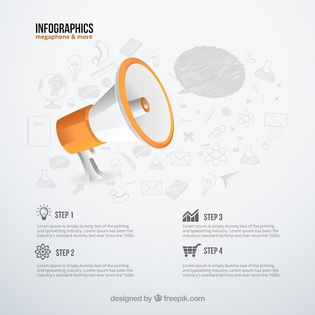 Infografica con un megafono Vettore gratuito