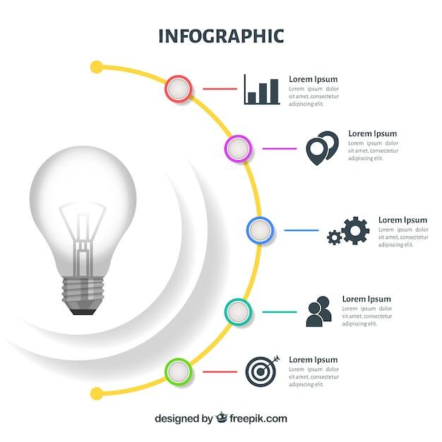 Infografica con una lampadina in design piatto Vettore gratuito