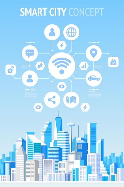 Infografica concetto di città intelligente. Vettore Premium