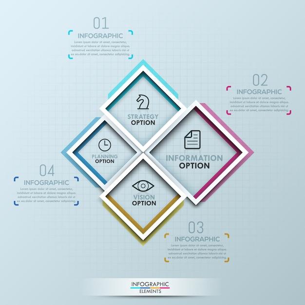 Infografica creativa con quattro quadrati Vettore Premium
