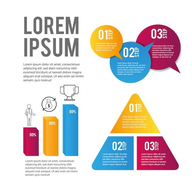 Infografica dati aziendali e informazioni sulla strategia Vettore Premium