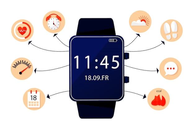 Infografica del braccialetto di fitness Vettore Premium