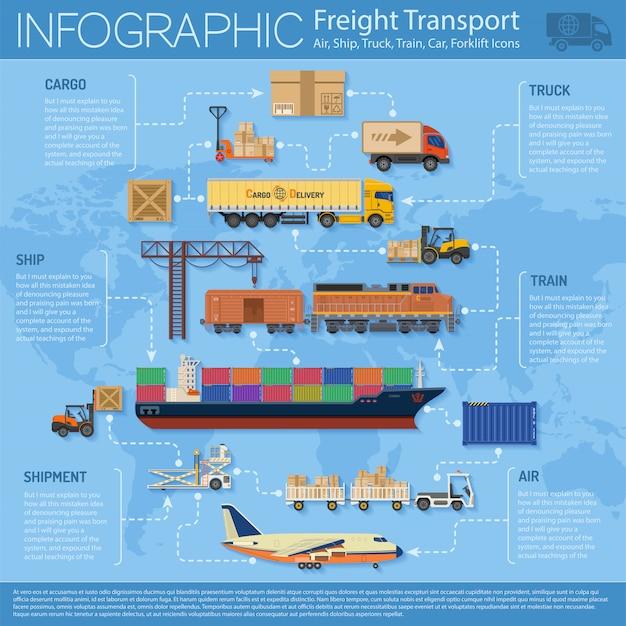 Infografica del trasporto merci Vettore Premium
