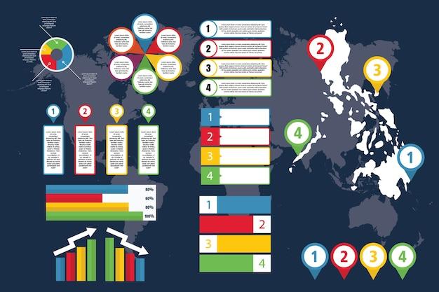 Infografica delle filippine con mappa per affari e presentazione Vettore Premium