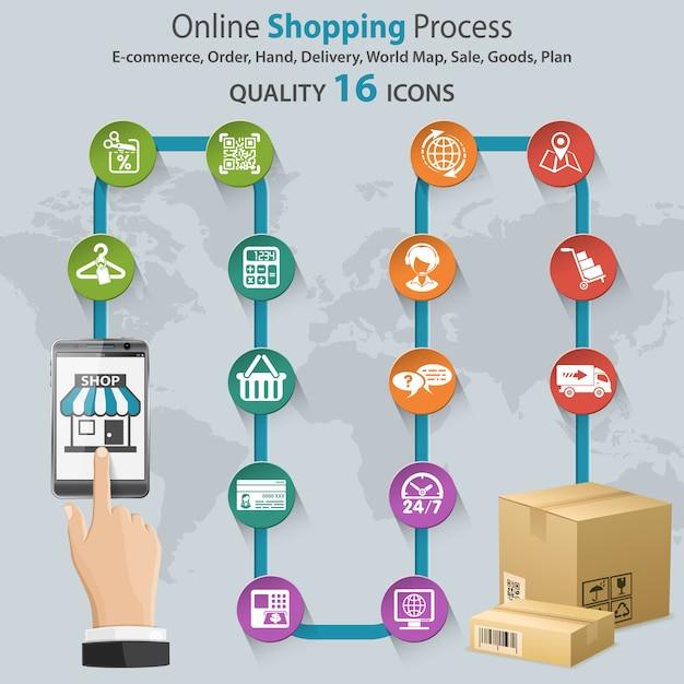 Infografica dello shopping su internet Vettore Premium